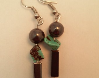 Hematite Turquoise Earrings