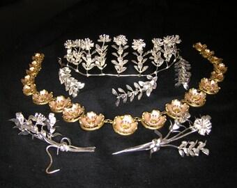 Vintage German, Silver Floral Bridal Myrtle, Tiara
