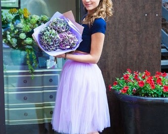 Tulle skirt (4 layers+lining) fixed waistband with hidden zipper (color - 23 Orchid)