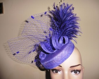 Purple Pillbox Hat.Purple Wedding Hat.Purple Ascot Race Hat.Purple Occasion Hat. Purple Fascinator.