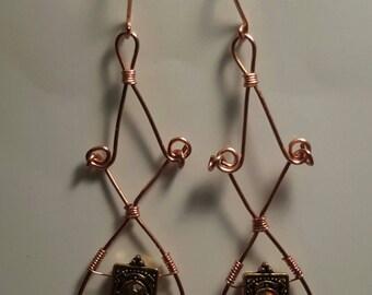 Handmade Gold Yellow Gem Charm Earrings