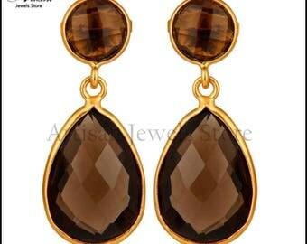 Smoky Quartz Gemstone Earring, 92.5 Sterling Silver Gemstone Jewelry 14k Gold Plated Gemstone Earring