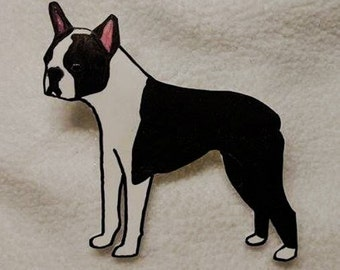 Boston Terrier Pin- Black and White