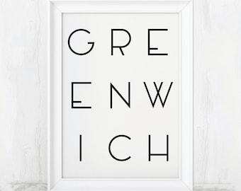 Greenwich Print, Greenwich Poster, Greenwich Art, Greenwich, Greenwich Gift, Greenwich Art Print, Greenwich Artwork, Greenwich Village