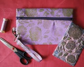 Gold Floral Block Printed Wristlet // Gold & Lilac