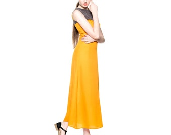 Handmade Maxi Floatty Orange Dress