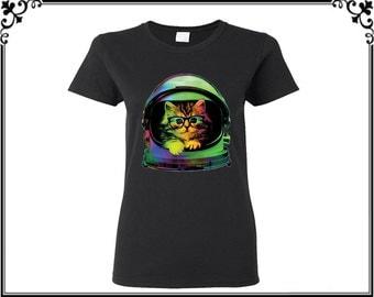 Spacecat T Shirt Cat Shirts Tees Cat T Shirts Cat Face Shirts Animal Tees Women T shirt Ladies T shirt hirt Gift For Her Party T shirt