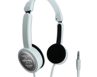 Gray Line Thank You Celebrating Us Personalized Travel Foldable Headphones
