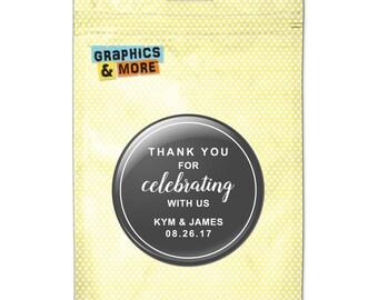 Gray Line Thank You Celebrating Us 2.25 Inch Diameter Personalized Custom Kitchen Refrigerator Locker Button Magnet