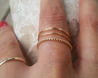 SET OF 7 → Thin Stackable Rings, Gold Stacking Rings, Stack Rings, Stacking Rings, Simple Gold Ring, Super Thin Gold Ring, Tiny Gold Ring