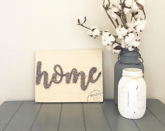 Cursive Home Sign, Rustic Wall Collage, Script Home Sign, Farmhouse Modern Style, Rustic Home Sweet Home, Home Gallery Wall Sign, Entryway