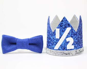 1/2 Birthday Crown | Boy Birthday Crown | Half Birthday Outfit Boy | Birthday Headband | Half Birthday Hat | Royal Blue and Silver 1/2
