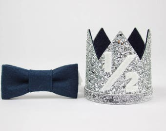 1/2 Birthday Outfit Boy | Boy Birthday | Crown | Baby Boy Birthday Party Hat | First Birthday Crown | 1st Birthday Hat | Silver + Navy 1/2