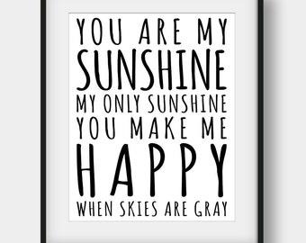 50% OFF You Are My Sunshine Print, Kids Room Decor, Printable Kids Gift, Nursery Print, Nursey Decor, Sunshine Print, Typography Art