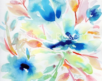 "Original painting 9""x12"", flower painting, colorful painting, blue flowers, abstract painting, abstract flower, floral art, blue watercolor"