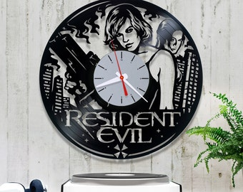 Resident Evil vinyl clock, 3/4/4 Vinyl record clock. Birthday gift