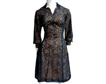 Black Orange Lace Dress Vintage 50s 60s elegant M 44 formal minidress prom gown robe part wedding kleid abito pizzo gotic goth lolita pinup