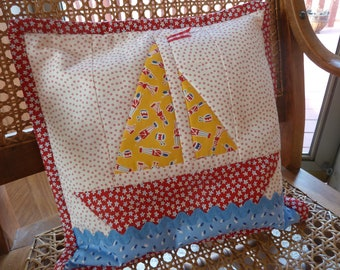 Adorable Sailboat pillow by Darlene Zimmerman,  published pillow pattern