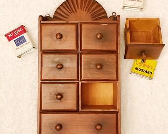 Vintage Wooden Spice Cupboard | Kitchen Wall Display Cabinet | Vintage Wood Spice  Cabinet With 7