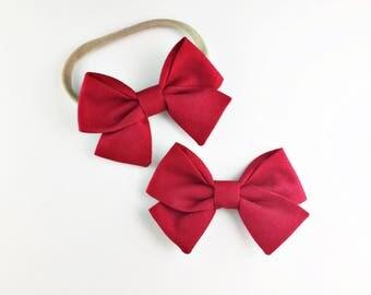 Baby, Toddler, Girls Fabric Bow Headband or Clip  -  Rhubarb Red, Red Bow, Nylon Bow Headband, Bow Hair Clip