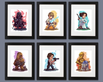 Star Wars Wall Art - Set of 6 Prints (Darth Vader, Luke, Leia, R2D3 & C3PO, Chewie, Han Solo)