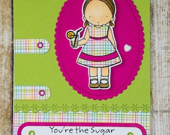 You're the Sugar card, Love you card, handmade greeting card, just because cards, thinking of you cards, love always, general cards