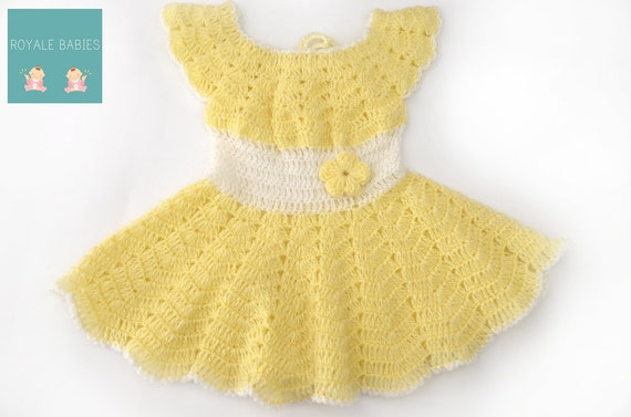 Yellow baby outfit ,Crochet baby outfit, Crochet yellow Baby Dress, yellow Infant Girl Clothes,Baby Girl Apparel,  Frock, yellow Baby Dress