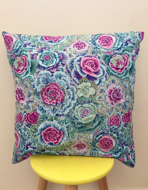 Floral fabric cushion cover, 45cm x 45cm, blue and purple flowers