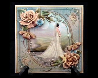 Handmade Vintage Style Wedding Marriage Congratulations Greeting Card W014