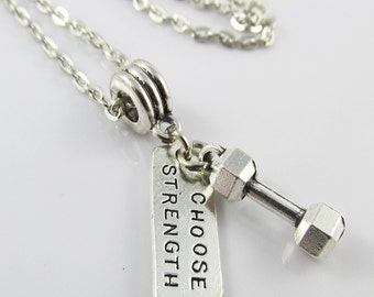 I Choose Strength Dumbbell Charm Necklace 45cm Silver Tone Chain
