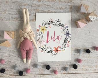 Printable Floral Birth Print, Personalised Nursery Decor, Kids Room Decor, Baby Room / Nursery Wall Art, Baby Name Art