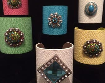 K Cuff, with interchangeable kufflink center bling, myriad of colors & materials