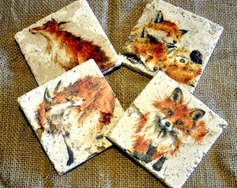 Set of Four Fox Natural Stone Coasters
