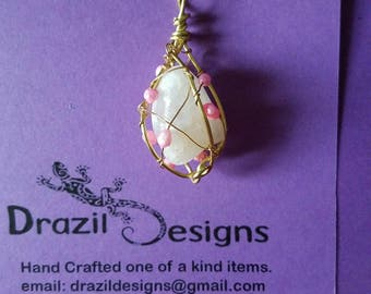 Quartz with accents of sea pearls wire wrapped necklace