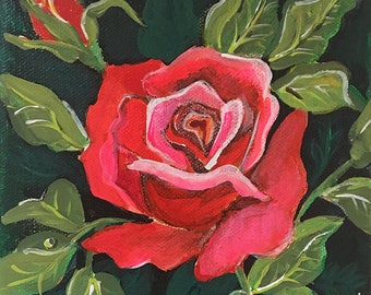 "6"" X 6"" Brilliant Painted Red Rose, Green ground"