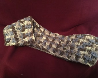 Handmade - Crocheted Scarf - Browns, blues and greys in a basket weave pattern