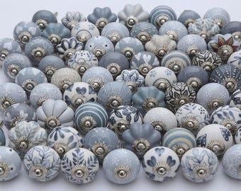Assorted Grey & White Ceramic Knobs Handpainted Kitchen Cabinet Drawer Pulls Handmade Ceramic Door Knobs Furniture Hardware Knobs