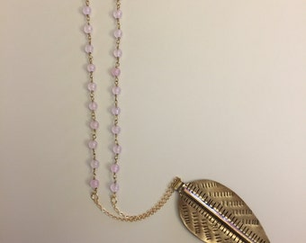 Gold Feather with Light Pink Beads on Gold Plated Chain