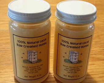 Raw Creamed Honey 12 oz Local Natural from Ohio in (2) 6 ounce Jars Spun Whipped