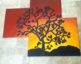 3 panel joshua tree sunset wall painting