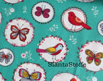 Cotton fabric birds, butterflies article 7683