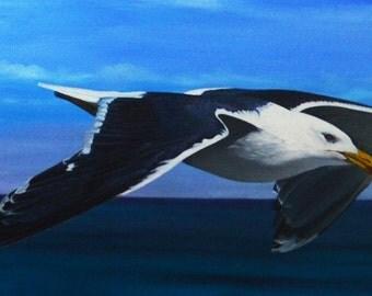 Lars the seagull - Great Black - backed Gull - Lars Seagull - Larus marinus - Oil painting on canvas