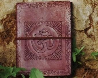 "Leather Bound Journal - Refillable Sketchbook - Handmade Embossed ""OM"" design - Leather Blank Book"