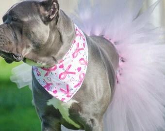 HOPE - Reversible Breast Cancer Ribbon, Pink, White, Dog Bandanna, Pet Accessory, Tie On, Dog Bandana