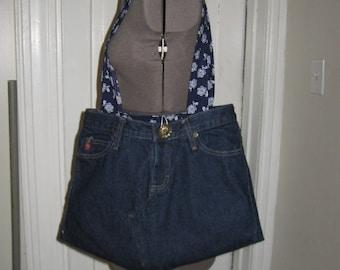 Mudd Jeans Reversible Refurbished Jeans Purse Handbag Tote Mudd Large Bag