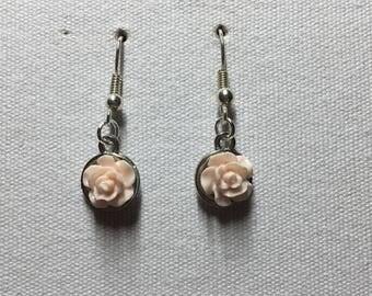 Cream rose earrings