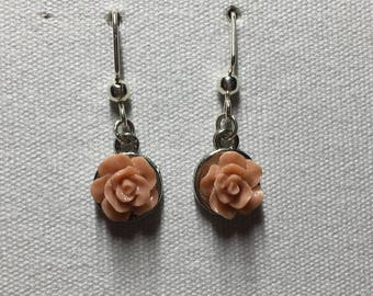 Peach rose earrings