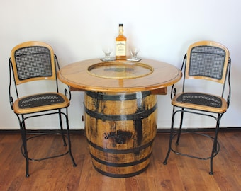 Jack Daniels Pub Table - Jack Daniels Whiskey Barrel Table - Jack Daniels Bar Table