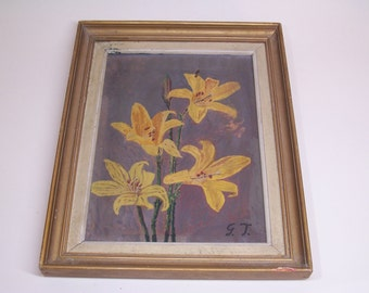 vintage original painting, signed, yellow flowers