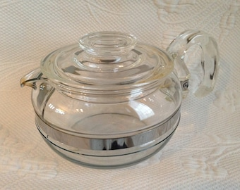 """RESERVED for EO - vintage Pyrex """"Flameware"""" - Pyrex teapot glass teapot / / made in the United States"""